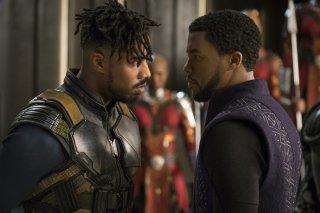Black Panther: Michael B. Jordan e Chadwick Boseman in una foto del film