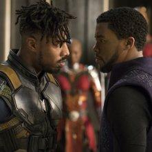 Black Panther: Chadwick Boseman e Michale B. Jordan in una scena