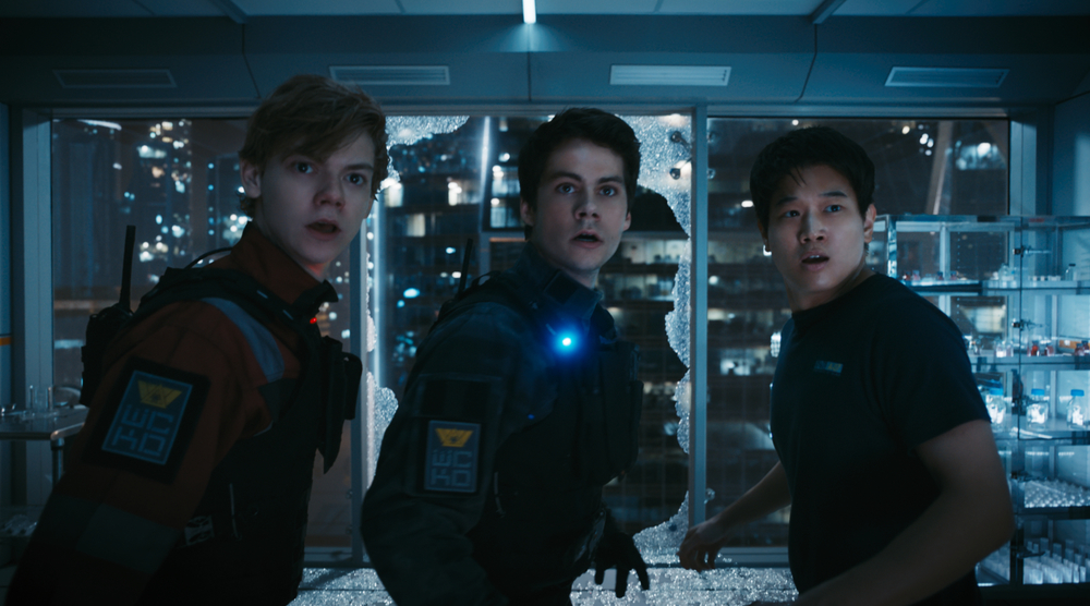 Maze Runner - La rivelazione: Dylan O'Brien, Thomas Brodie-Sangster e Ki Hong Lee in una scena del film