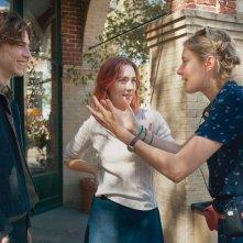 Lady Bird: Greta Gerwig con Saoirse Ronan e Timothée Chalamet sul set del film