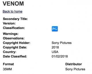 Venom: il rating del trailer