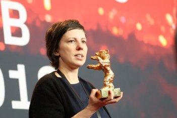 Berlino 2018: Adina Pintilie durante la conferenza dei premiati