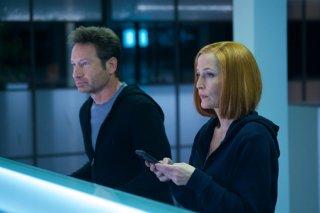 X-Files: David Duchovny e Gillian Anderson durante una scena nell'episodio Rm9sbG93ZXJz