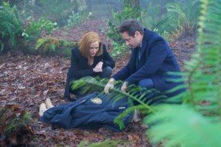 X-Files: Gillian Anderson e Duchovny in una scena dell'episodio Familiar