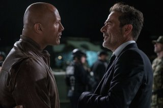 Rampage - Furia animale: Dwayne Johnson e Jeffrey Dean Morgan in una scena del film