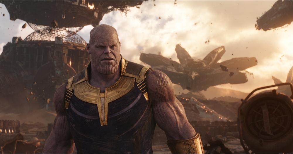 Avengers: Infinity War, Josh Brolin nei panni di Thanos in una scena del film