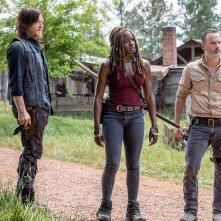 The Walking Dead: Andrew Lincoln, Normal Reedus e Danai Gurira in una scena