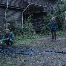 The Rain: Alba August, Mikkel Boe Følsgaard, Lucas Lynggaard Tønnesen in una scena della seconda stagione