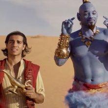 Aladdin: Will Smith insieme a Mena Massoud in una scena del film