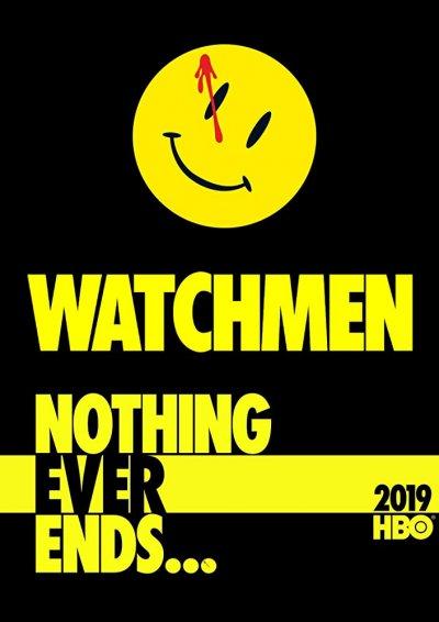 Poster giallo e nero di Watchmen maggior candidato agli Emmy 2020
