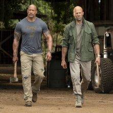 Fast & Furious - Hobbs &  Shaw: Jason Statham, Dwayne Johnson in un momento del film
