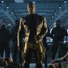 Fast & Furious - Hobbs &  Shaw: Idris Elba, Jason Statham, Dwayne Johnson in una scena del film