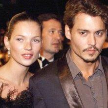Johnny Depp con la modella Kate Moss