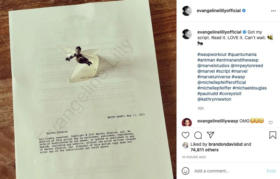 Ant Man 3 And The Wasp Quantumania Script Photo Evangeline Lilly 1269224
